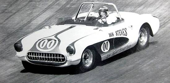 MacDonald tearing through the Marchbanks road course in his 1957 Vette