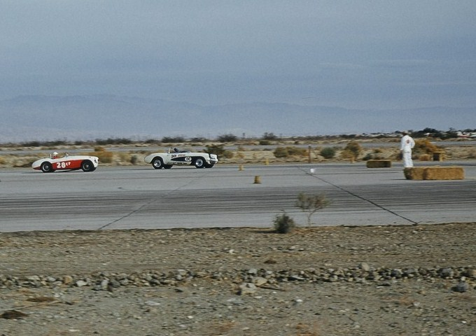 Dave MacDonald racing the 00 corvette at palm springs raceway