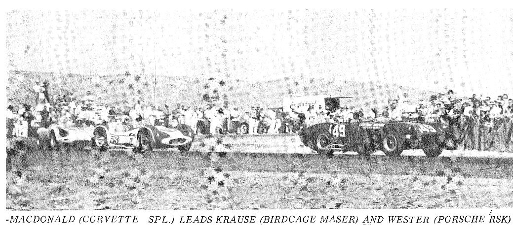 Dave MacDonald has his Corvette Special ahead of Billy Krause and Don Wester at Reno 1962