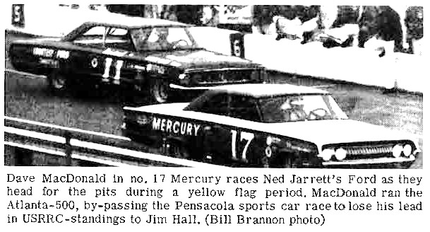 Dave MacDonald and Ned Jarrett leave pits in 1964 Atlanta 500
