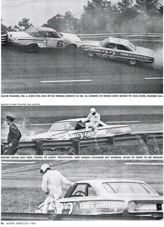 Fireball Roberts and David Pearson crash into each other at 1964 Atlanta 500