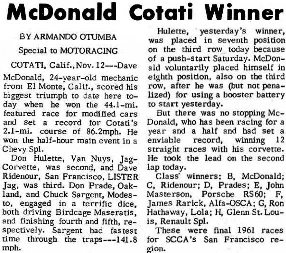 Dave MacDonald debuts the new Corvette Special at Cotati Raceway and wins going away
