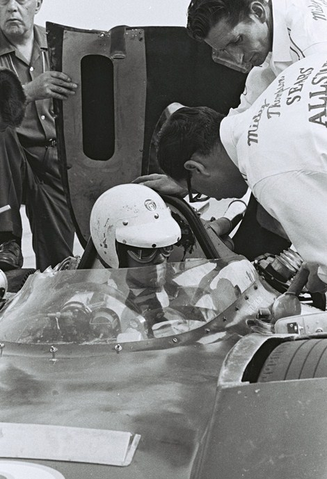 dave macdonald in mickey Thompson ford at 1964 indy 500 on carb day