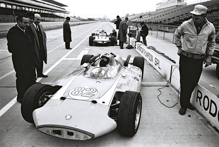 Dave MacDonald at the brickyard in 1963 tire testing the thompson car