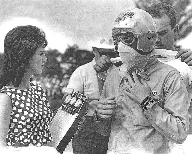 Racer Dave MacDonald with wife Sherry at Nassau Speed Weeks in 1963