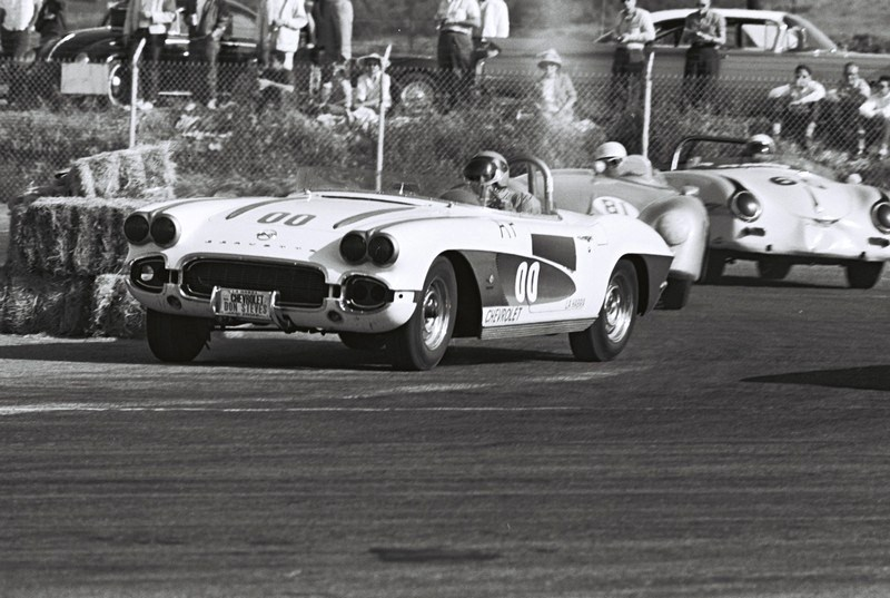 Dave MacDonald corvette leads porsches of jay hills and don westor at del mar raceway