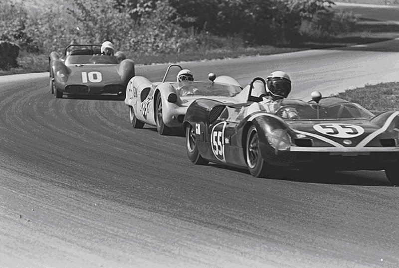 Dave MacDonald and Bob Bondurant drive Steve McQueen's Shelby Cobra Roadster to a 4th overall 1st in class finish at the 1963 Road America 500