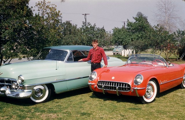 Race car driver Dave MacDonald with his 1953 Cadillac and 1955 Corvette