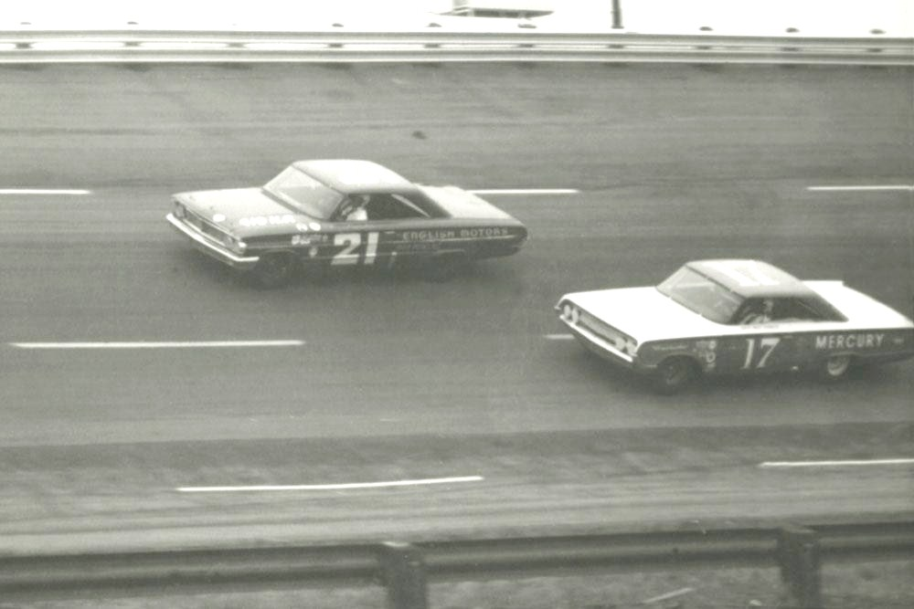 Racer Dave MacDonald trails Marvin Panch in 1964 NASCAR Atlanta 500