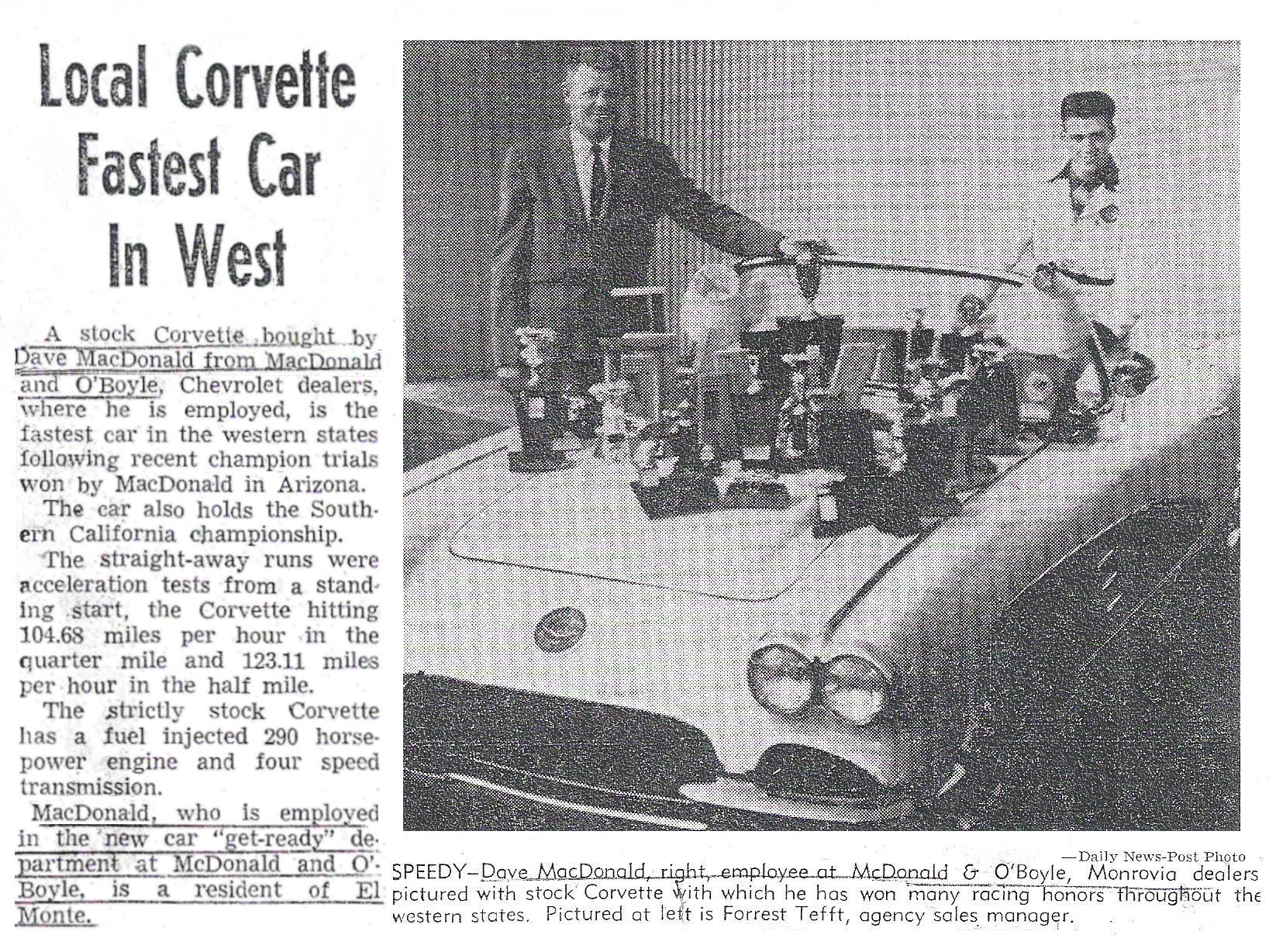 Dave MacDonald - Fastest Corvette in the West
