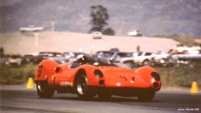 Dave MacDonald in the Carroll Shelby Lang Cooper King Cobra at Riverside International Raceway