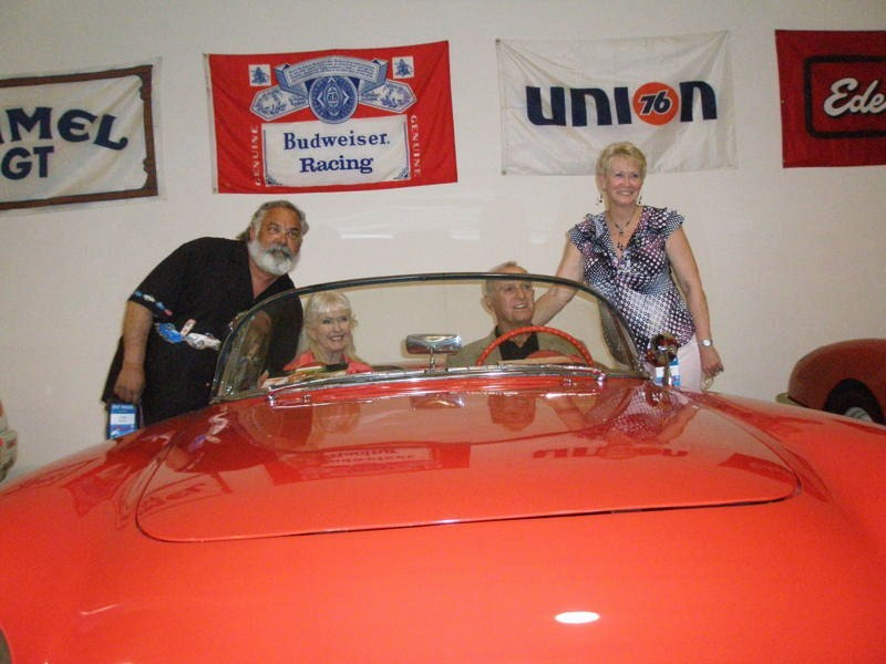 Bob Bondurant and Sherry MacDonald in The Dave MacDonald 1955 Corvette at the 2010 Legends of Riverside event