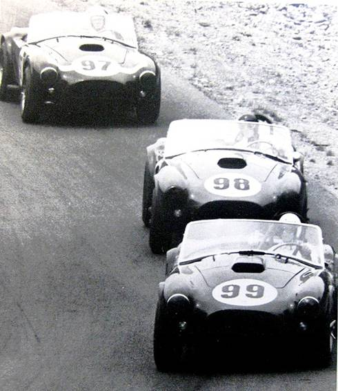 Ken Miles, Bob Holbert and Dave MacDonald run Shelby Cobras at Kent 1963